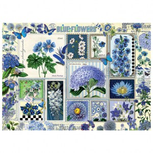 Puzzle Barbara Behr: Blue Flowers - 1000 pz - Cobble Hill 80043