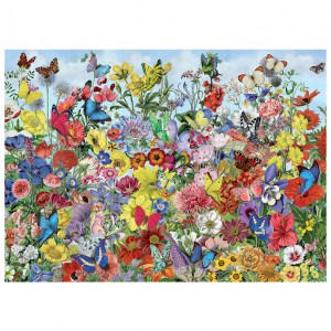 Puzzle Barbara Behr: Butterfly Garden - 1000 pz - Cobble Hill 80032