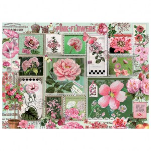 Puzzle Barbara Behr: Pink Flowers - 1000 pz - Cobble Hill 80042