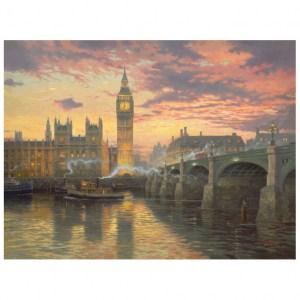 Puzzle Thomas Kinkade: Evening mood in London - Atmosfera serale a Londra - 1000 pz - Schmidt 59471